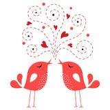 влюбленность карточки птицы Стоковое Изображение RF