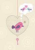 влюбленность клетки птицы сиротливая бесплатная иллюстрация