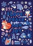 Влюбленность, мир и утеха Поздравительная открытка в скандинавском стиле иллюстрация вектора
