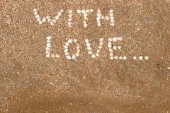 влюбленность надписей пляжа Стоковая Фотография