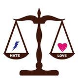 влюбленность ненависти ощупываний такие же весы Стоковые Фото