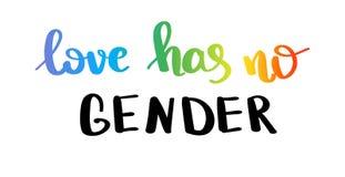 Влюбленность не имеет никакой род Лозунг гей-парада с литерностью написанной рукой Вдохновляющее LGBT выпрямляет плакат концепции иллюстрация вектора