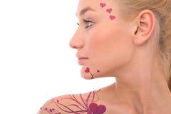 влюбленность орнаментирует женщину иллюстрация вектора