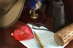 влюбленность письма стола стоковое изображение rf