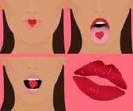 влюбленность поцелуя сердца Стоковые Изображения