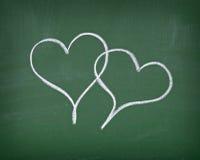 влюбленность сердец chalkboard Стоковое Изображение RF