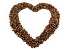 влюбленность сердца кофе фасоли Стоковые Фото