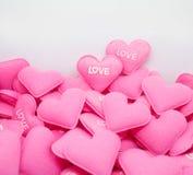Влюбленность сердца пастельного пинка сладостная с whitebackground Стоковая Фотография RF