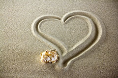 влюбленность сердца пляжа Стоковое Изображение RF