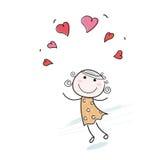 влюбленность сердец девушки doodle Стоковое фото RF