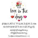 Влюбленность снадобье Почерк рукописных шрифтов сетноой-аналогов бесплатная иллюстрация
