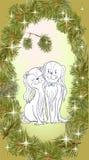 Влюбленность собаки золота xmas рамки сосны Стоковое фото RF