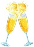 влюбленность стекел шампанского иллюстрация штока