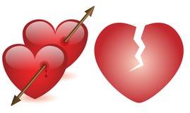 Влюбленность стрелки разбитых сердец Стоковые Фото