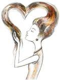 влюбленность девушки себя Стоковые Изображения RF