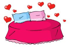 влюбленность 01 кровати иллюстрация штока