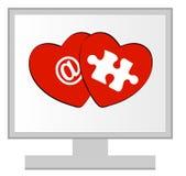 влюбленность cyber он-лайн Стоковое Фото