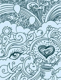 влюбленность doodle Стоковые Изображения