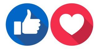 Влюбленность Facebook и как значки красочные Стоковое Изображение