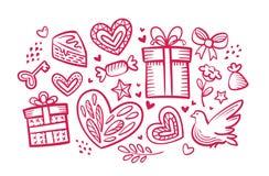 Влюбленность, wedding концепция декоративный комплект элементов Иллюстрация вектора эскиза Стоковое Фото