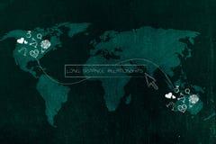 Влюбленност-тематические значки соединились брошенной линией через континенты и Стоковые Фото