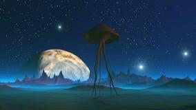 Внеземная тварь на планете чужеземца иллюстрация вектора