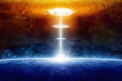 Внеземной космический корабль чужеземцев ударяет голубую планету в глубоком космосе Стоковые Изображения