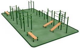 Внешнее оборудование фитнеса для парка разминки публично перевод 3d бесплатная иллюстрация