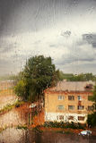 внешнее окно дождя стоковое изображение
