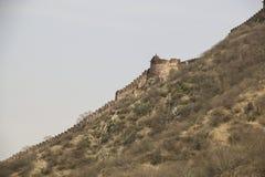 Внешние стены янтарного форта в Джайпуре, Раджастхане, Индии Стоковое фото RF