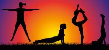 Внешние фитнес и гимнастика иллюстрация вектора