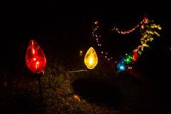 Внешние электрические лампы цвета смололи украшения яркий Стоковые Фото