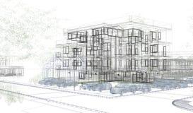 Внешние wireframes здания, перевод дизайна, архитектура Стоковое Изображение