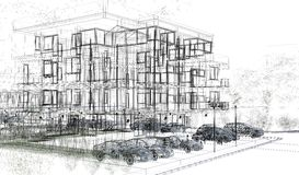 Внешние wireframes здания, перевод дизайна, архитектура Стоковые Фото