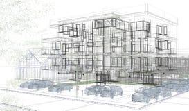 Внешние wireframes здания, перевод дизайна, архитектура Стоковое Фото