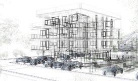 Внешние wireframes здания, перевод дизайна, архитектура Стоковое фото RF
