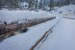 Внешний взгляд снега и льда дороги зимы боковой линии в лесе Норвегии Стоковые Изображения RF