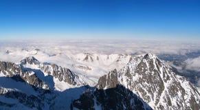 Внешний вид зимы от пика Lomnicky, высокого Tatras Стоковые Изображения RF