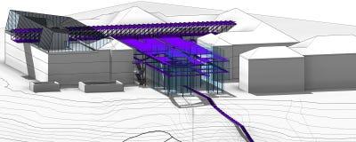 Внешний музея в национальной академии изящного искусства и архитектуры (проект концепции) Стоковые Изображения RF