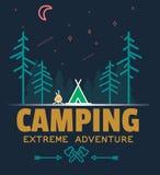 Внешний логотип значка леса располагаться лагерем и приключения, логотип эмблемы, дизайн ярлыка также вектор иллюстрации притяжки Стоковое Фото
