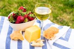 Внешний пикник весны с клубникой, сыром, хлебом и стеклом o Стоковое Изображение