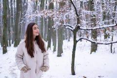 Внешний портрет женщины детенышей довольно красивой в холодной солнечной погоде зимы в парке Сезон зимы outdoors стоковые фотографии rf