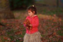 Внешний портрет молодой счастливой девушки ребенка играя с осенью l Стоковое Изображение