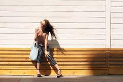 Внешний портрет солнечных очков молодой красивой модной счастливой дамы нося, в деревянной рамке, против деревянного Стоковая Фотография