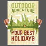 Внешний плакат туризма приключения иллюстрация вектора