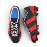 Внешний футбол cleats ботинки на белизне Взгляд сверху иллюстрация 3d Стоковые Фото