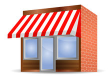 внешняя витрина магазина красного цвета тента Стоковые Изображения RF