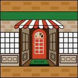 Внешняя витрина магазина с радушной циновкой бесплатная иллюстрация