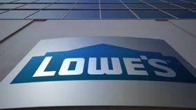 Внешняя доска signage с логотипом ` s Lowe строя самомоднейший офис Редакционный перевод 3D видеоматериал