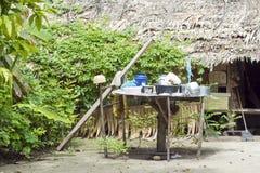 Внешняя кухня на крае тропического леса стоковое фото